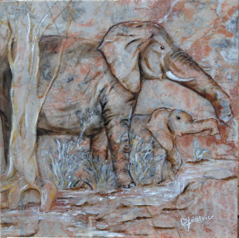 LA SAGESSE  DES ELEPHANTS  (31x31)